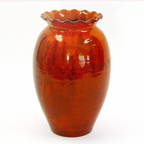 Orange Pottery Vase by Roger Corn