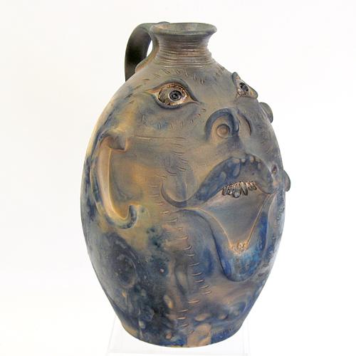 Raku face jug pottery by southern folk potter, Roger Corn.