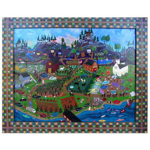 "Dorethey Gorham folk art painting, ""A Beautiful Day to Rejoice."""