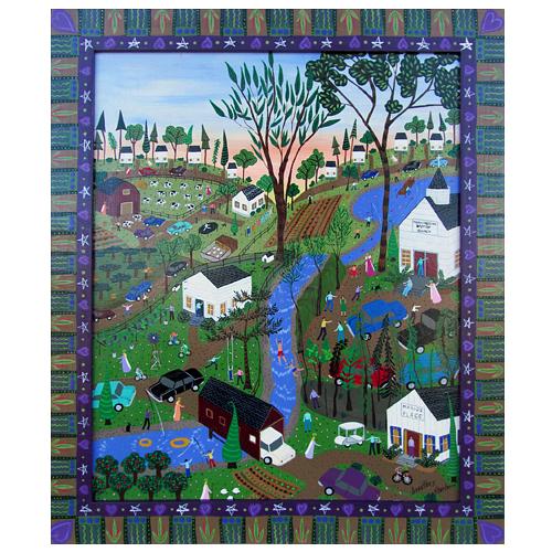 "Dorethey Gorham folk art painting ""By the Grace of God."""