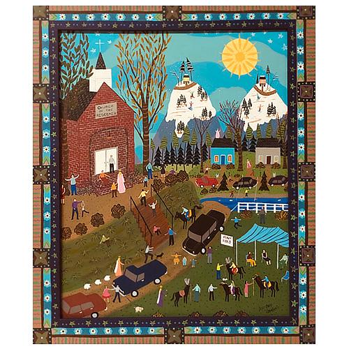 """Dorethey Gorham folk art painting """"Pony Rides."""""""