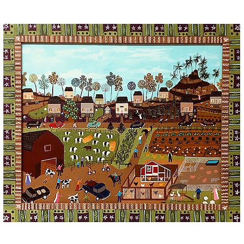 "Dorethey Gorham folk art painting ""At the Farm."""