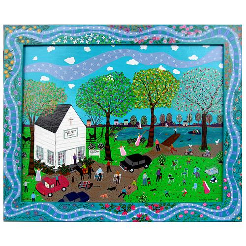 "Dorethey Gorham folk art painting ""The Revival."""
