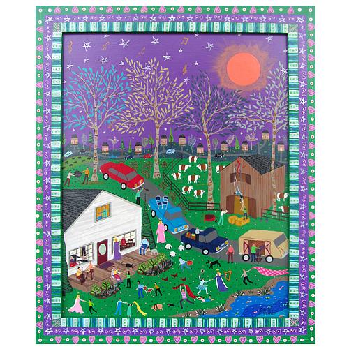 "Dorethey Gorham folk art painting ""Music in the Air."""