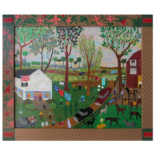 "Dorethey Gorham folk art painting ""Bear Creek Stables."""