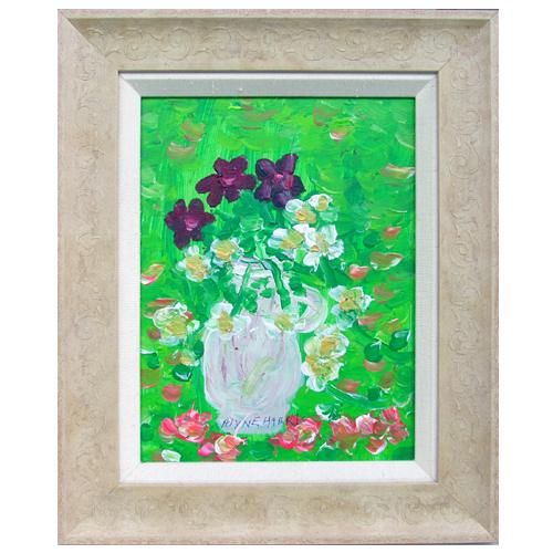 Alyne Harris painting of purple and white flowers.