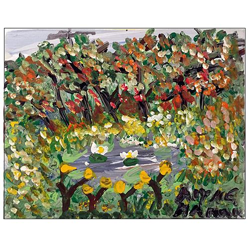 Alyne Harris folk art painting of Spring flowers.