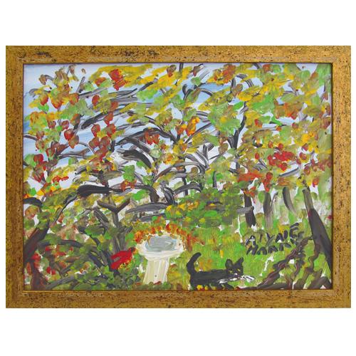 Alyne Harris painting of a cardinal, birdbath and cat.