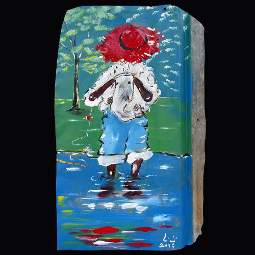 Self-taught artist, Leonsard Jones painting of a fisherman