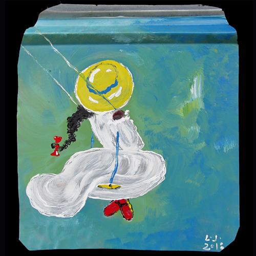 Leonard Jones painting of a little girl swinging.