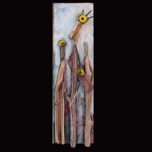 Amy Lansburg driftwood sculpture on wood.