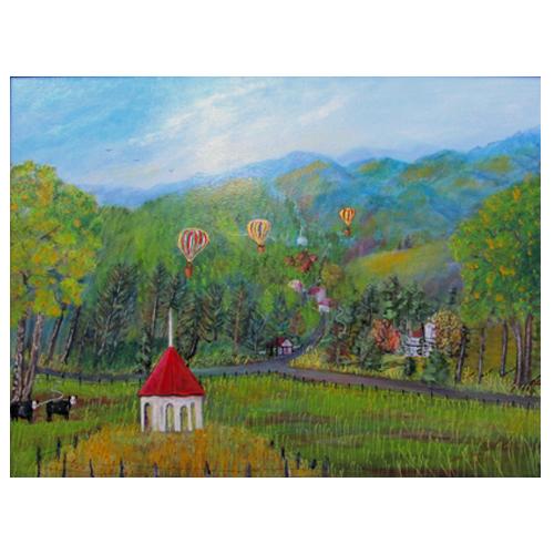 Painting of a ballon race in Saute Nachoochee, GA by folk artist, Amy Payne