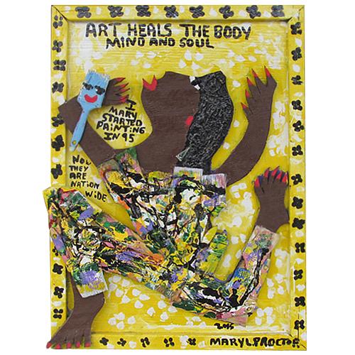 "Folk art painting ""Art Heals"" by folk artist Mary Proctor."