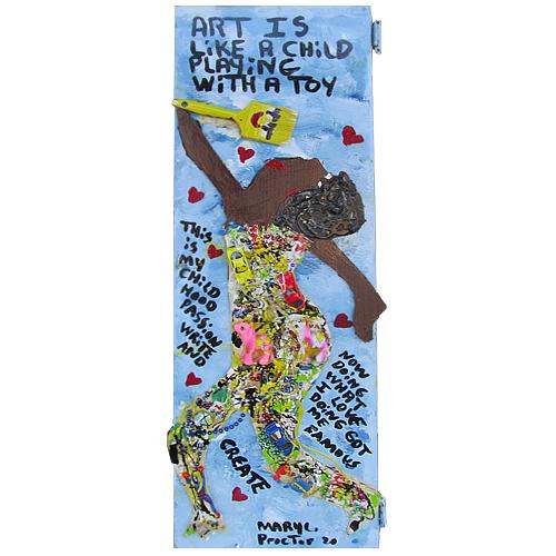 "Folk art painting ""Art is Like a Child"" by folk artist Mary Proctor."