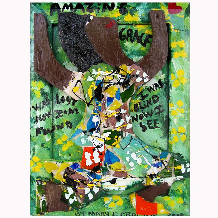 "Outsider folk artist Mary Proctor painting ""Amazing Grace."""