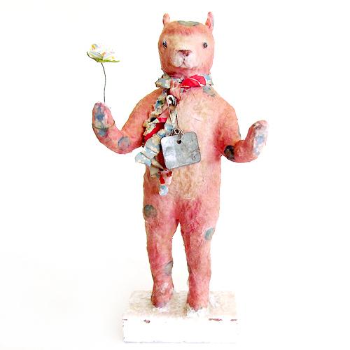 Carol Roll sculpture of a Pink Bear