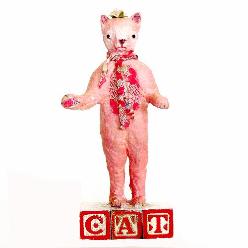 """Paper mache figure """"Cat"""" by Carol Roll."""