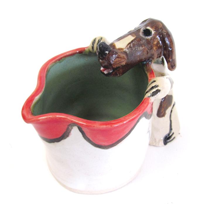 Carolyn Simmons southern folk pottery dog pitcher.