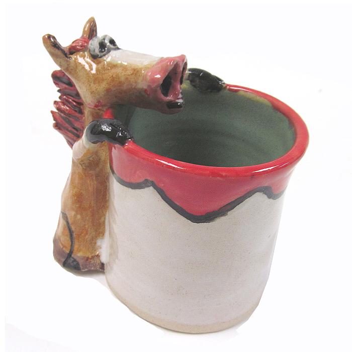 Carolyn Simmons southern folk pottery horse pitcher.