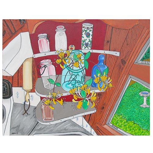 Self-taught artist, Mark Stevenson's painting of Honeysuckle Vines