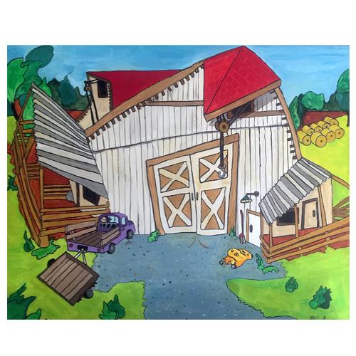 Self Taught Artist, Mark Stevenson, Painting of a Barn