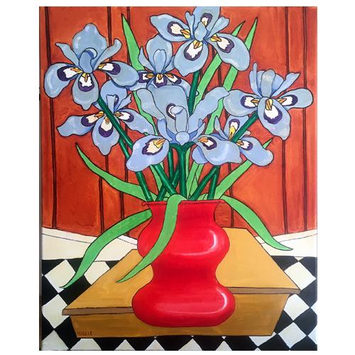 Self Taught Artist, Mark Stevenson, Painting of Irises