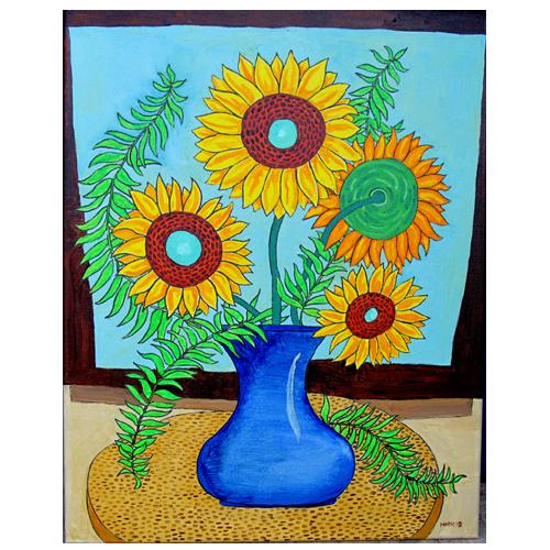 Self Taught Artist, Mark Stevenson, Painting of Sunflowers