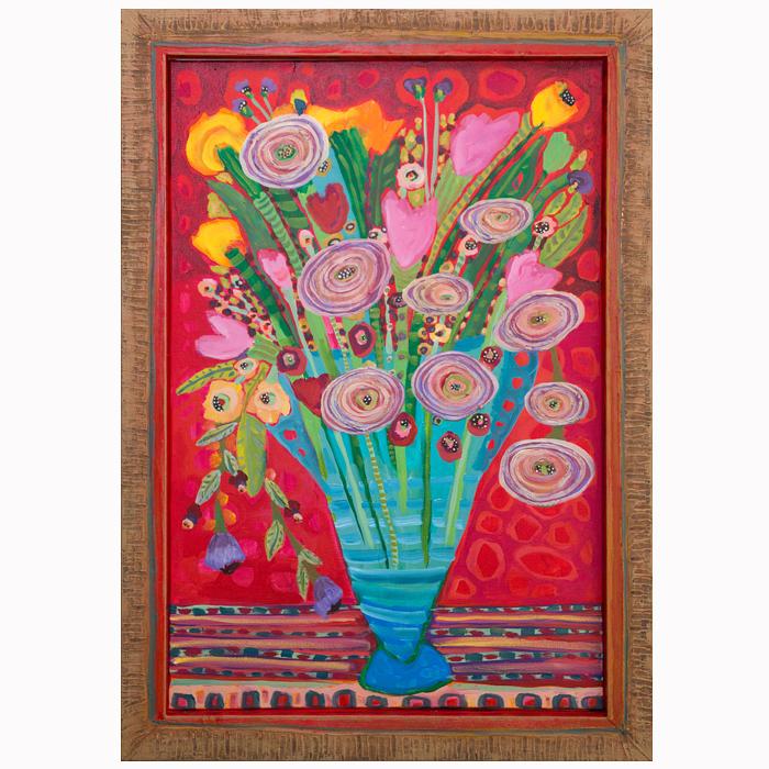 "Self-taught artist, Theresa Disney floral painting ""Zanzabar."""