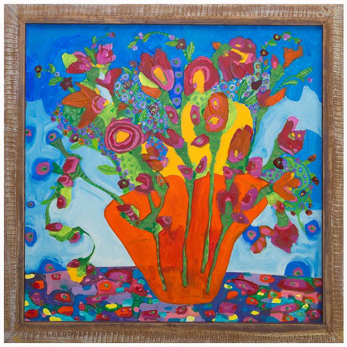 "Self-taught artist, Theresa Disney floral painting,""Lucinda."""