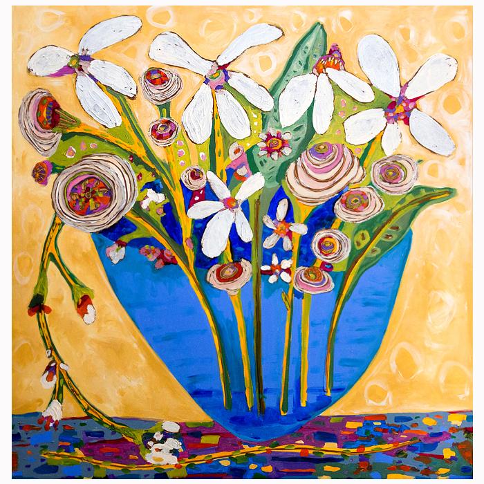 "Self-taught artist, Theresa Disney floral painting,""Big Sister."""