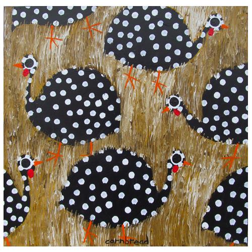 "John ""Cornbread"" Anderson painting of guinea hens."
