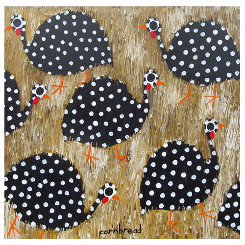 "John ""Cornbread"" Anderson painting of Guinea Hens"
