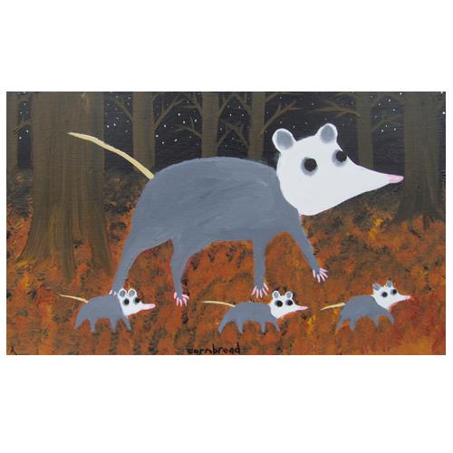 "John ""Cornbread"" Anderson painting of a 'Possum Family."
