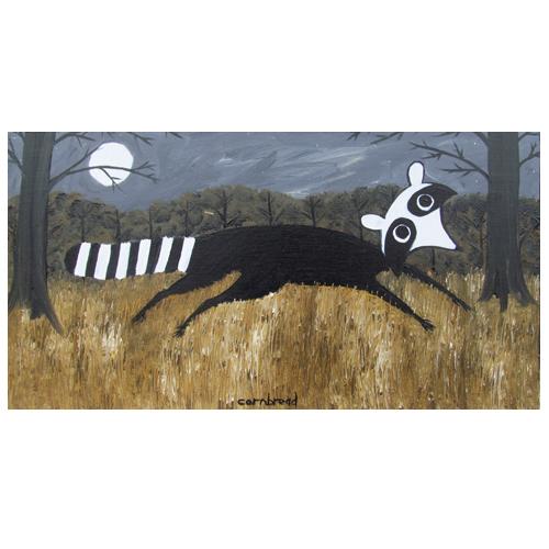 "John ""Cornbread"" Anderson painting of a Raccoon at Night."