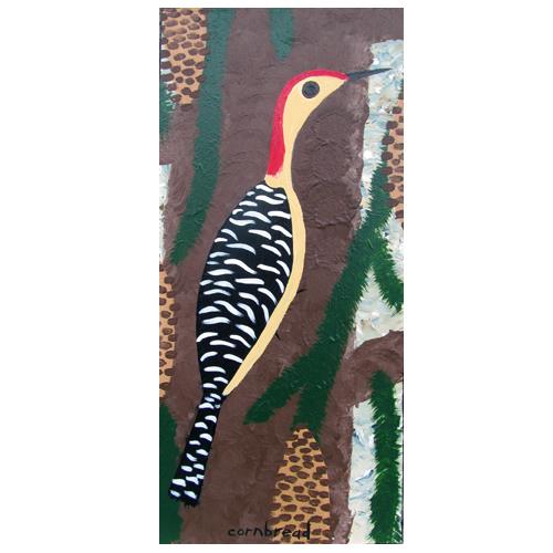 "John ""Cornbread"" Anderson painting of a Woodpecker."