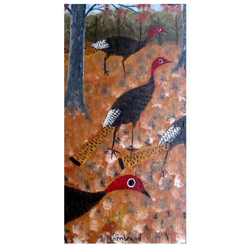 "Self taught folk art by ""Cornbread"" painting of Turkeys."