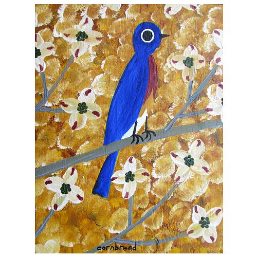 "Self taught folk art by ""Cornbread"" painting of a Bluebird."
