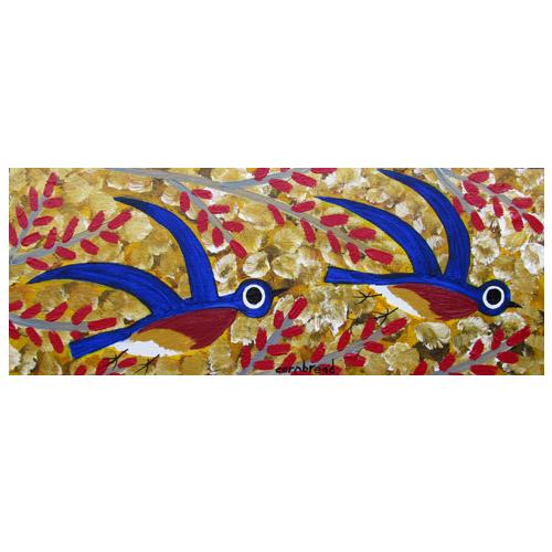 Self Taught Folk Artist Cornbread painting of Bluebirds in a Maple Tree