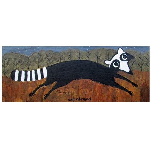 Self Taught Folk Artist Cornbread painting of a Raccoon.