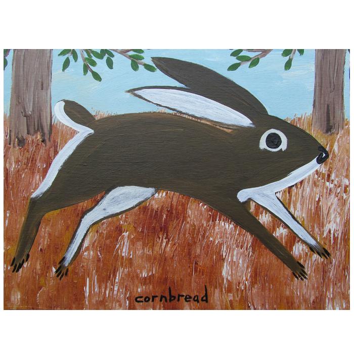 "Rabbit painting by self-taught artist, John ""Cornbread"" Anderson."