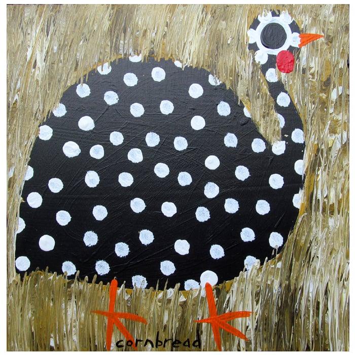 """Painting, """"Single Guinea Hen"""" by folk artist, John """"Cornbread"""" Anderson."""