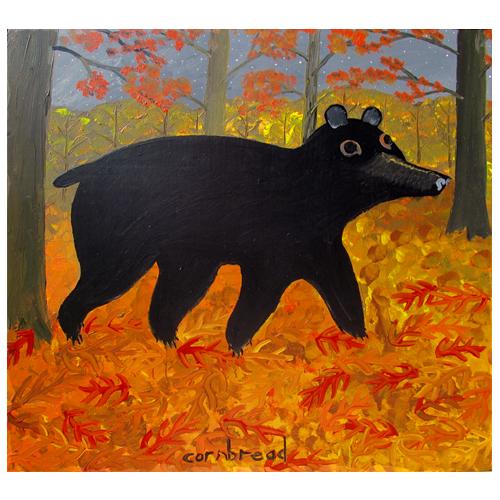 Cornbread painting of a bear.