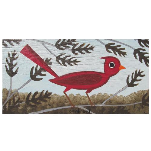 Cornbread painting of a cardinal bird in an oak tree.