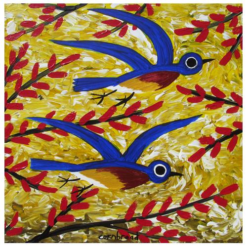 Cornbread painting of Bluebirds