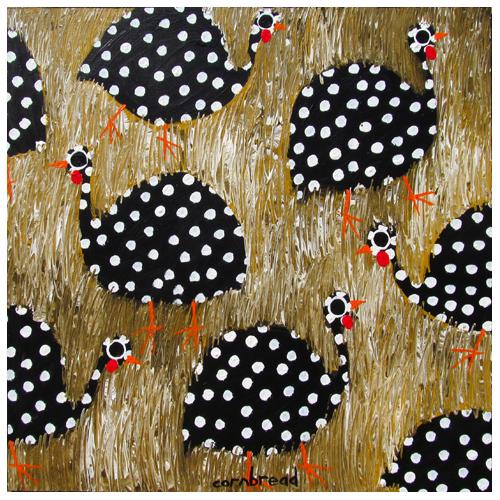 "Self-taught artist, John ""Cornbread"" Anderson painting of guinea hens."