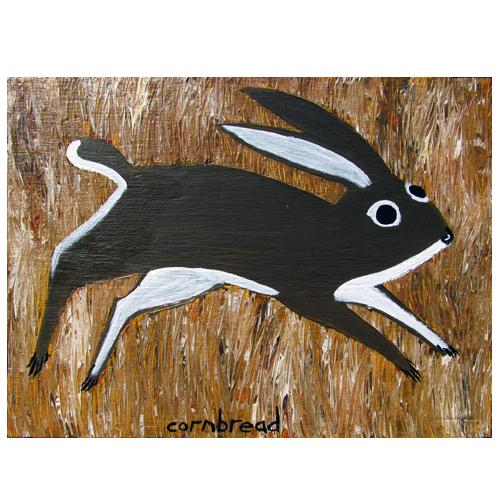 Cornbread painting of a rabbit
