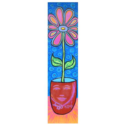 """Eric Legge, self-taught artist, painting """"1 Long Flower"""""""