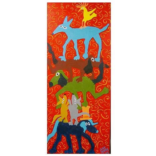 John Sperry folk art painting of dogs.