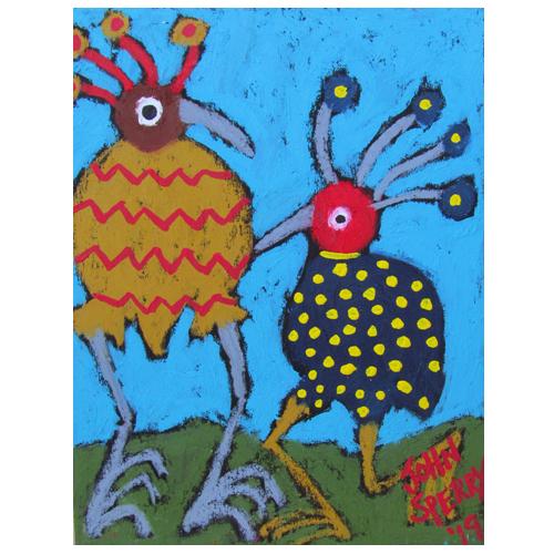"John Sperry painting ""Funkadelic Birds."""