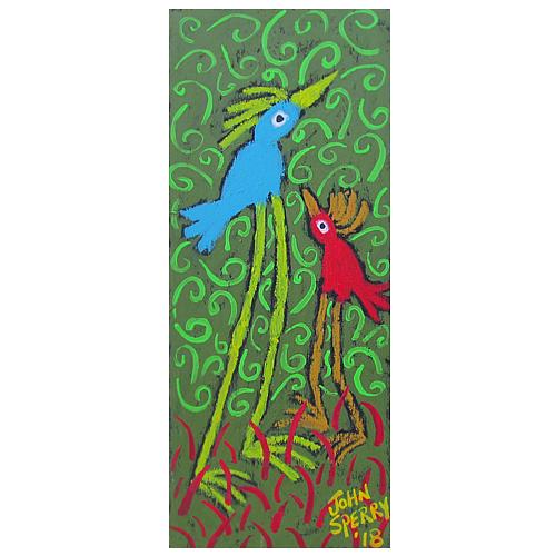 """John Sperry folk art painitng of """"Funkadelic Birds."""""""